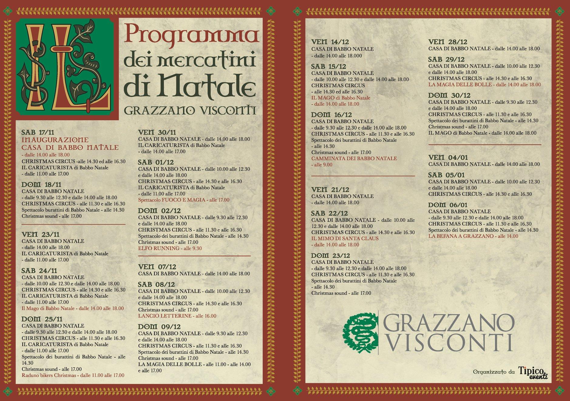 Natale di Grazzano Programma 2018